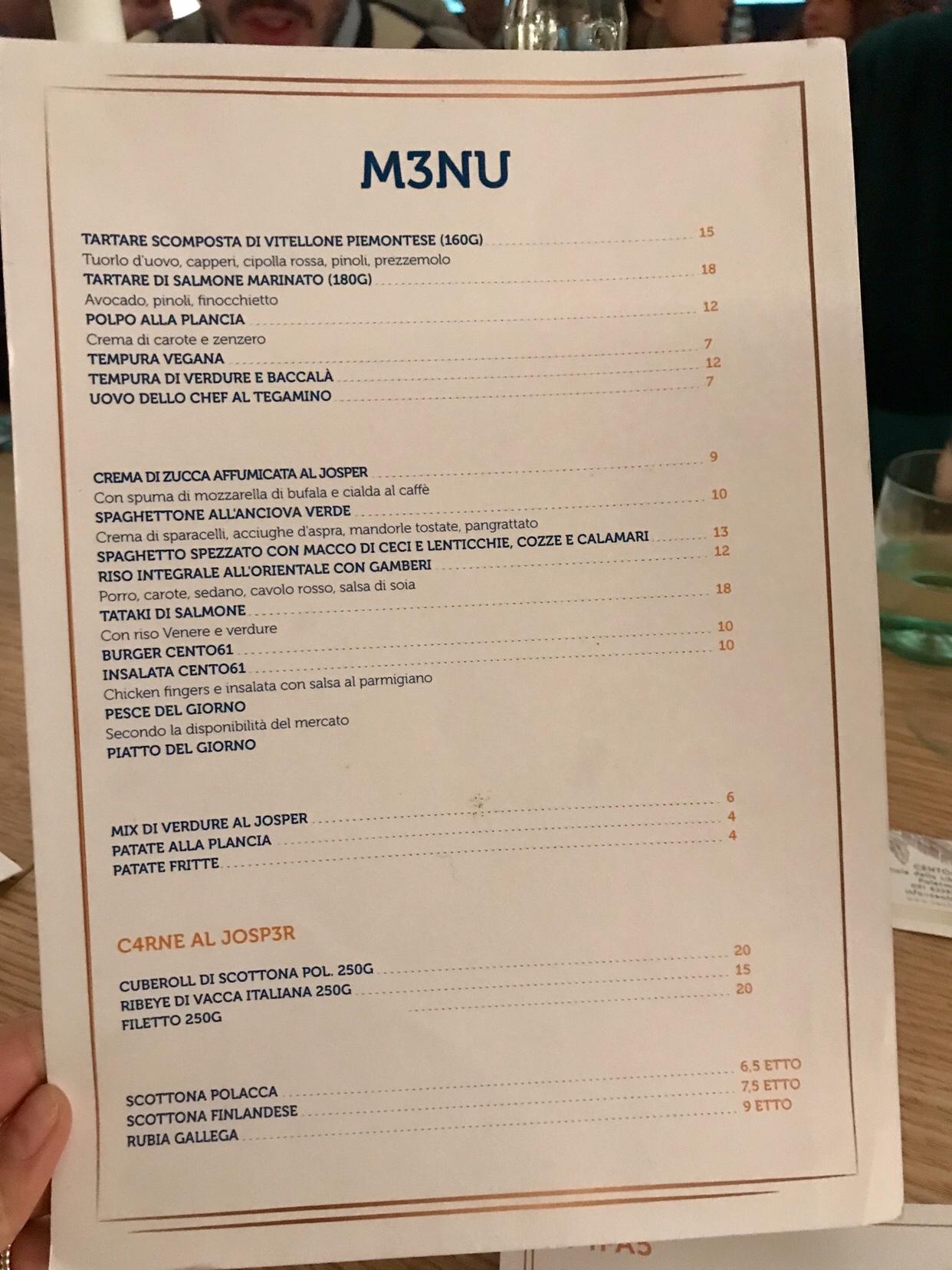cento61 ristorante menu