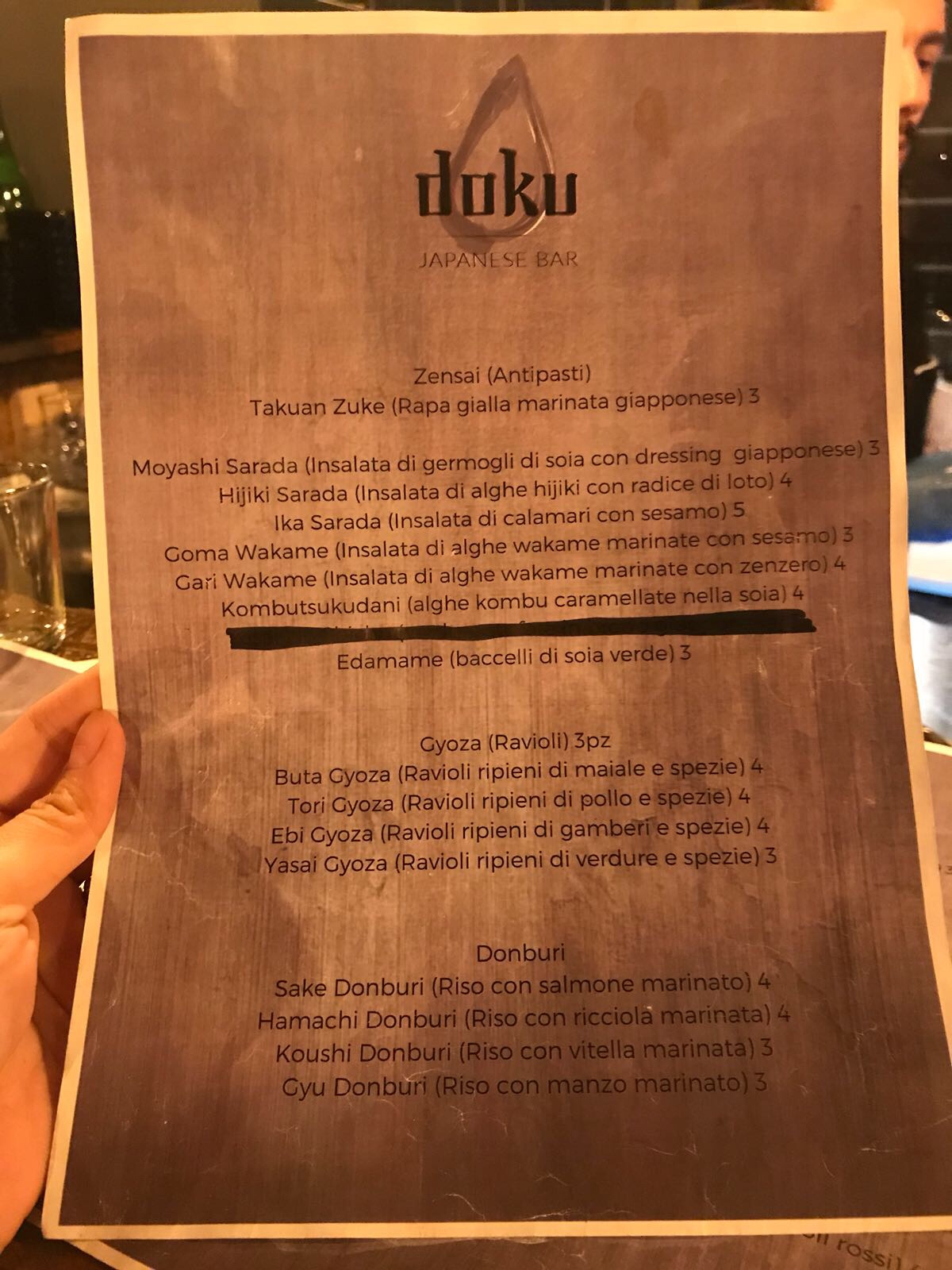 doku japanese bar roma menu