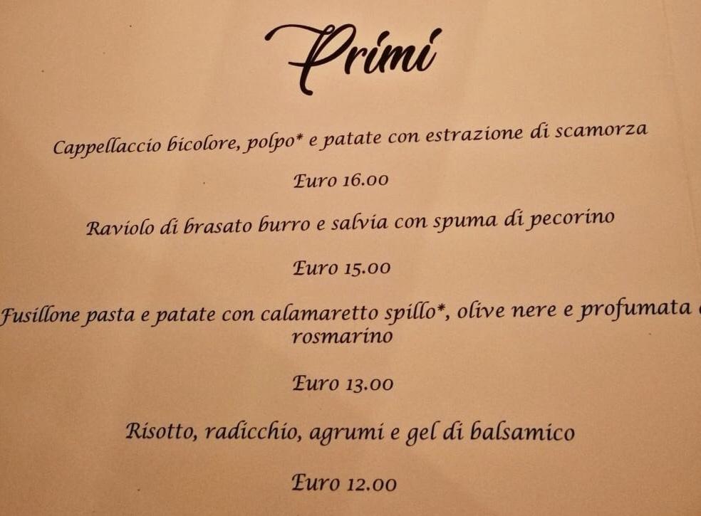 myda ristorante menu