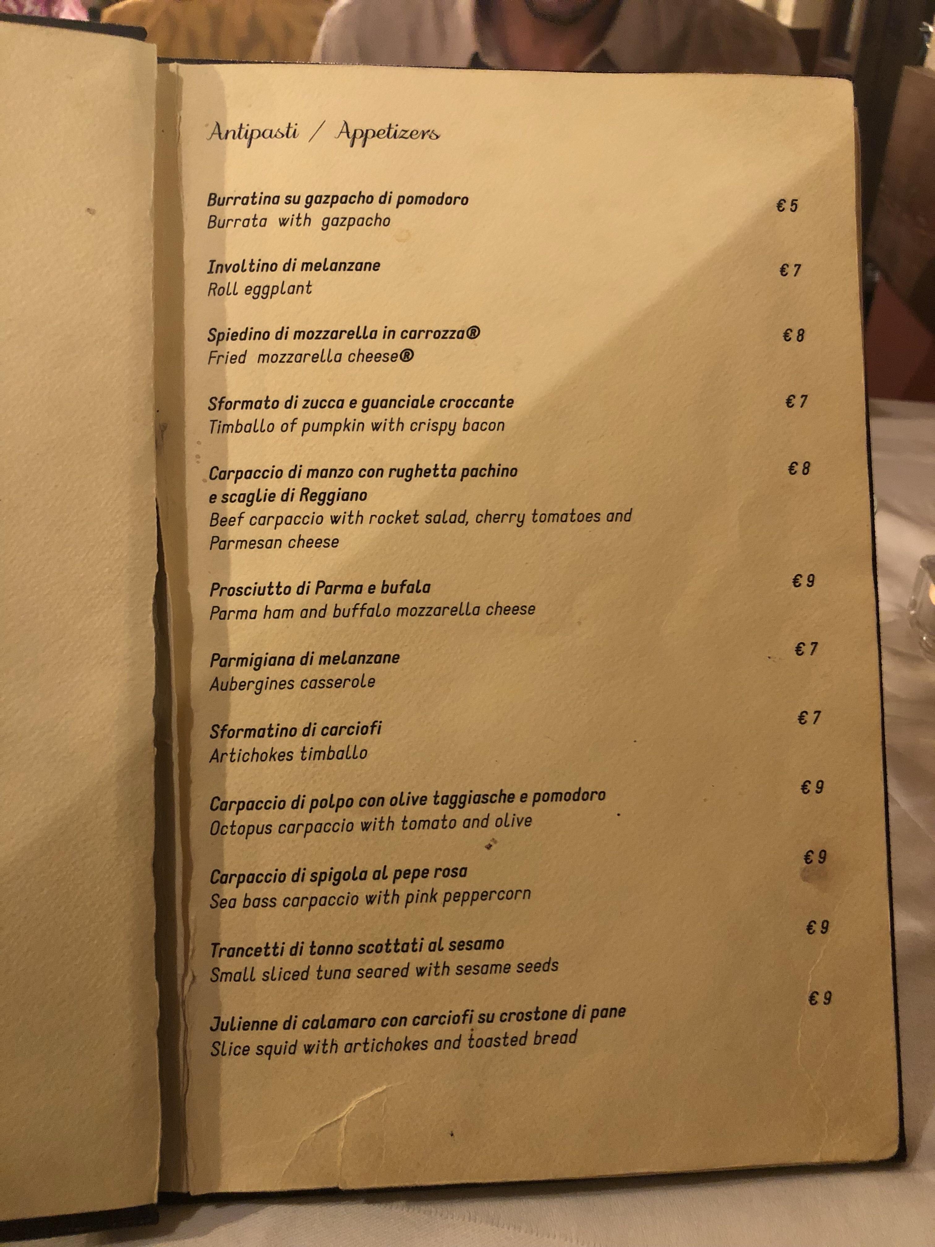 osteria degli amici menu